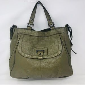 Perlina Green purple leather convertible tote bag